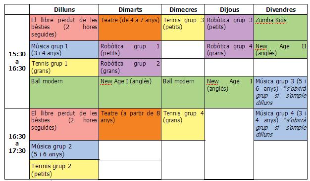 horari extraescolars AMIPA Es Molinar 18-19